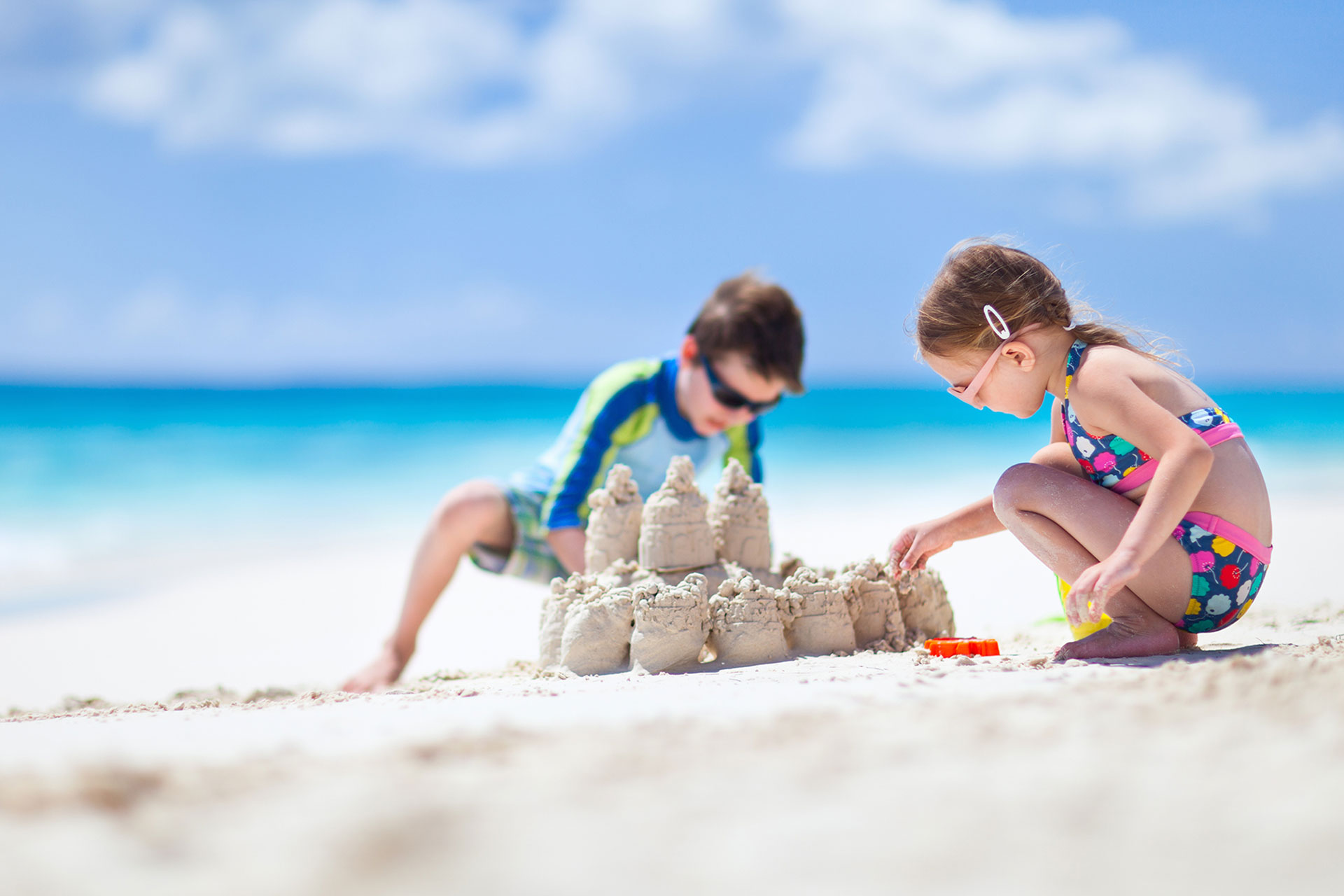 Kids making a sand castle
